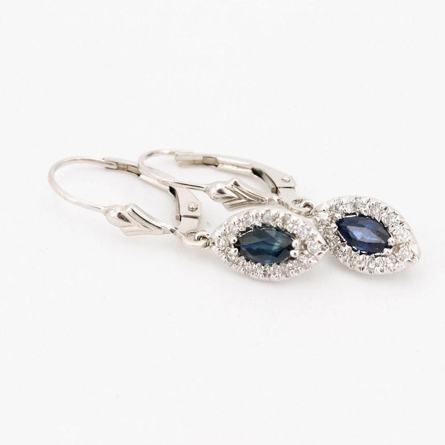 14K White Gold Sapphire Diamond Earrings