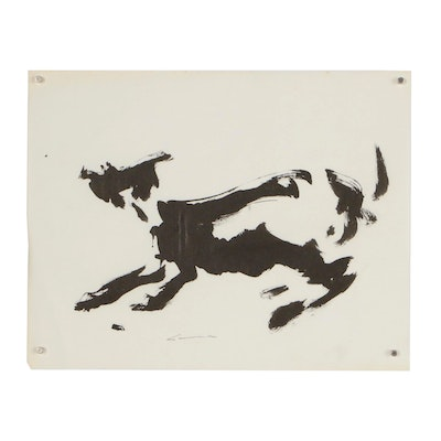 Robert Canete Abstract India Ink Drawing of a Dog