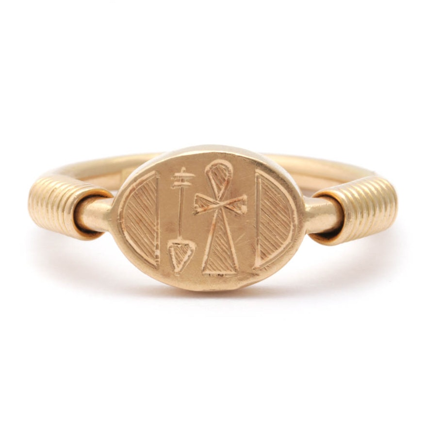 14K Yellow Gold Egyptian Revival Carved Signet Ring