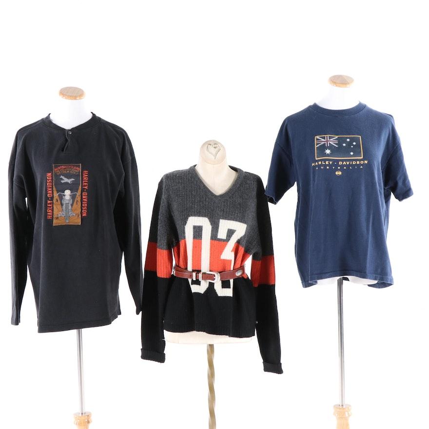 034e1ffb46b2 Harley-Davidson Color Block Sweater, Shirts, and a Legion Western Leather  Belt | EBTH