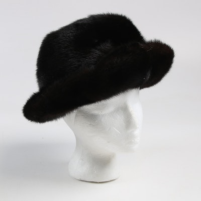 Janet Leitner New York Mink Fur Bucket Hat, 1960s Vintage