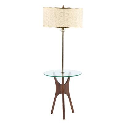 Danish Modern Glass Floor Table Lamp, Mid-Century