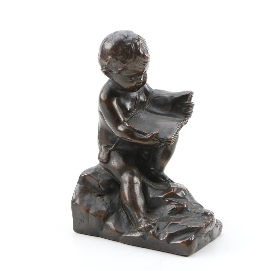 Cast Bronze Bookend of Cherub Reading, Late 19th to Early 20th Century