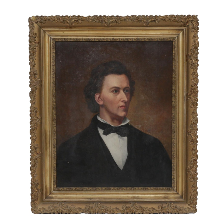 19th Century Portrait Oil Painting of Fryderyk Chopin