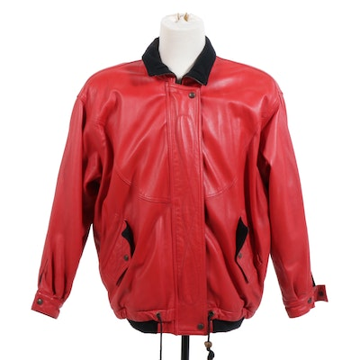Bettina Red Leather Jacket Accented in Black