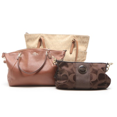 Coach and Michael Kors Signature Canvas and Leather Shoulder Bags
