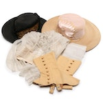 Silk Wedding Bonnet, Wide Brim Hats and Leather Spats, Early-Mid 20th Century