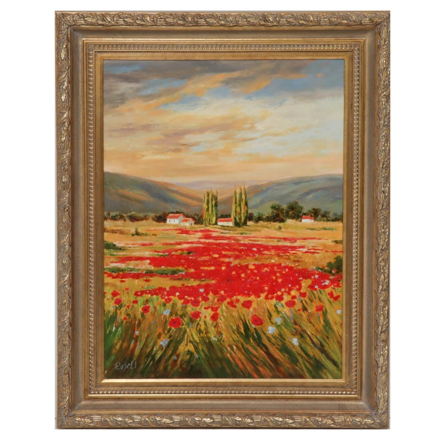 Juan Rosell Poppy Field Oil Painting