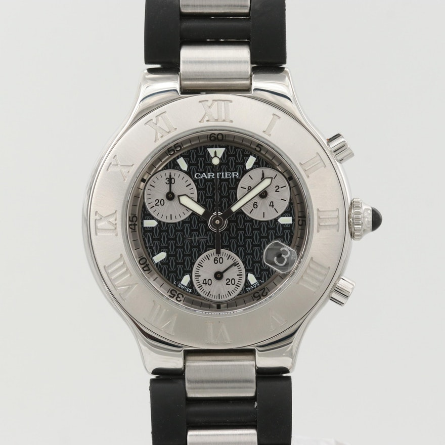 Cartier 21 Stainless Steel Chronograph Quartz Wristwatch