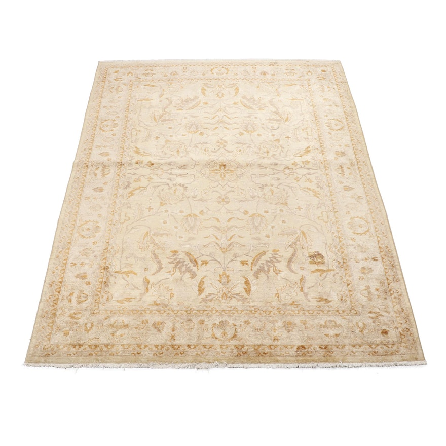Hand-Knotted Turkish Silk Blend or Art Silk and Cotton Rug