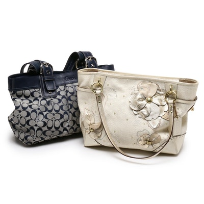 Coach Soho Pleated Signature Canvas and Floral Appliqué Straw Shoulder Bags