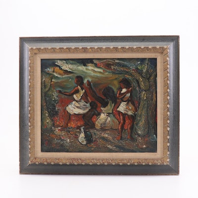 Mid-Late 20th Century Figural Oil Painting