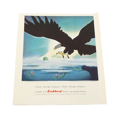 "Walt Disney Productions WWII Lockheed ""Victory Through Airpower"" Advertisement"