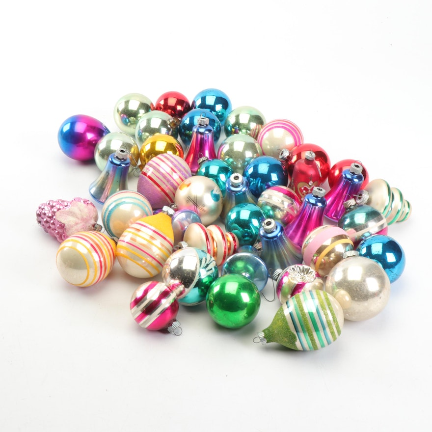 Vintage Blown Glass Shiny Brite and West German Christmas Ornaments