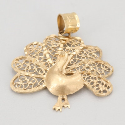 "14K Yellow Gold ""Peacock"" Pendant"