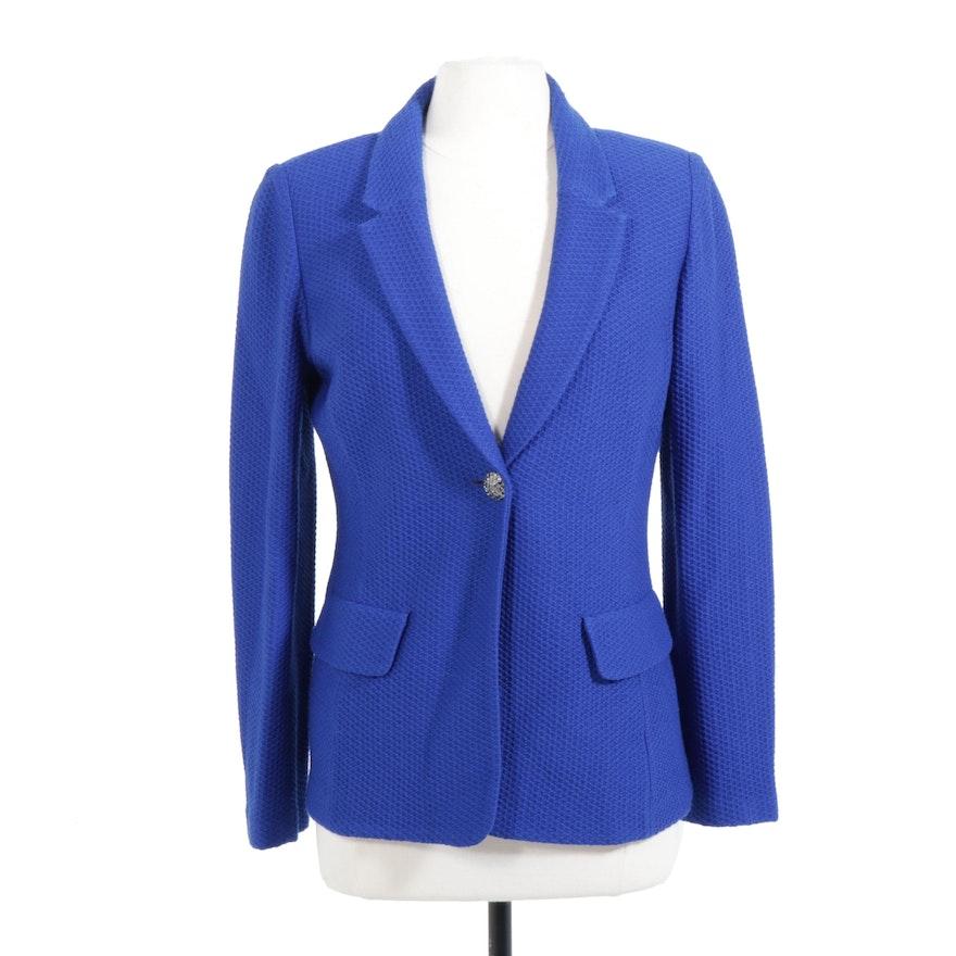 St. John Blue Wool Blend Knit Blazer