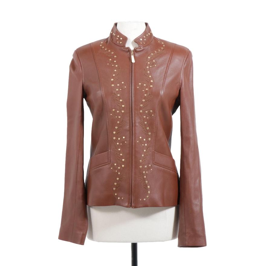 St. John Sport Embellished Brown Lambskin Leather Jacket