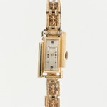 Vintage LeCoultre 14K Yellow Gold Fancy Lug Stem Wind Wristwatch