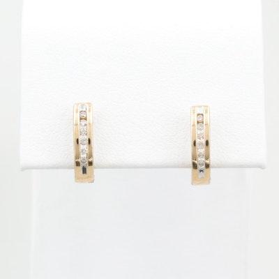 10K Yellow Gold Diamond Huggie Hoop Earrings
