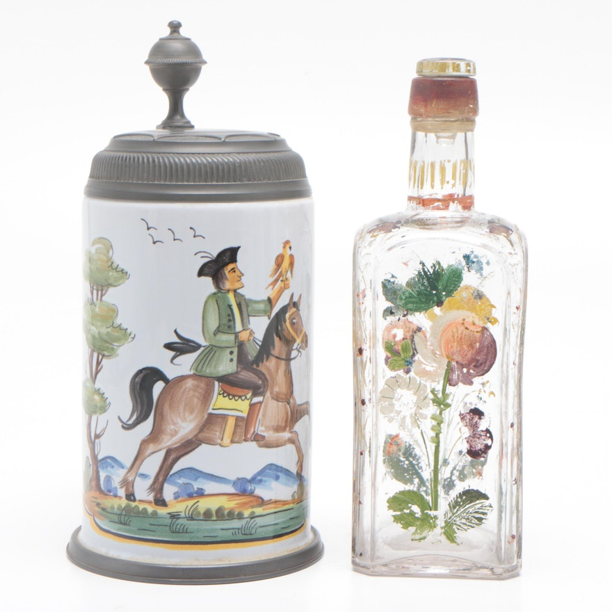 Earthenware Beer Stein and Painted Glass Decanter