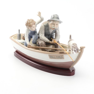 "Lladró ""Fishing with Gramps"" Large Porcelain Figurine with Base"