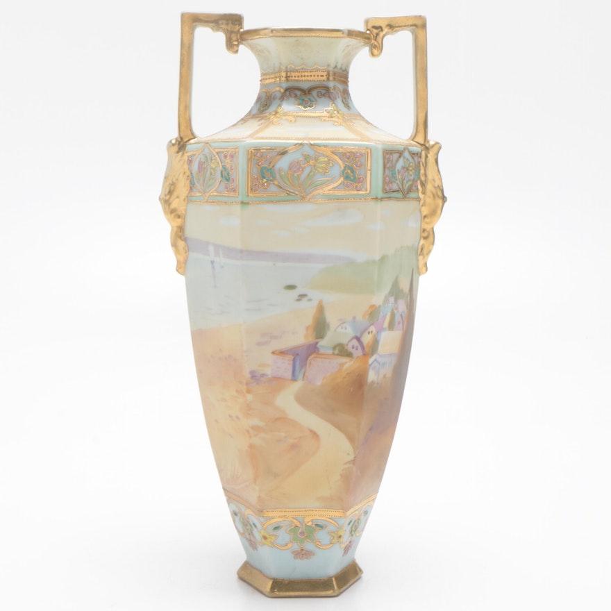 Noritake Hand-Painted Porcelain Amphora Vase, Mid-Century