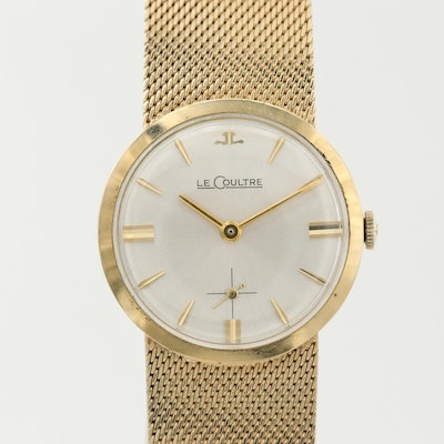 LeCoultre 18K Yellow Gold Wristwatch With 14K Yellow Gold Band