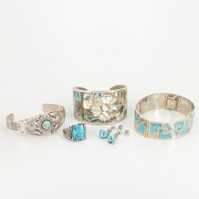 Southwestern Style and Mexican Inlaid Turquoise and Abalone Jewelry Selection