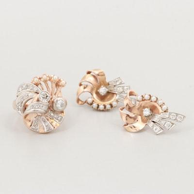 Retro 14K Gold and Palladium 1.02 CTW Diamond and Cultured Pearl Jewelry