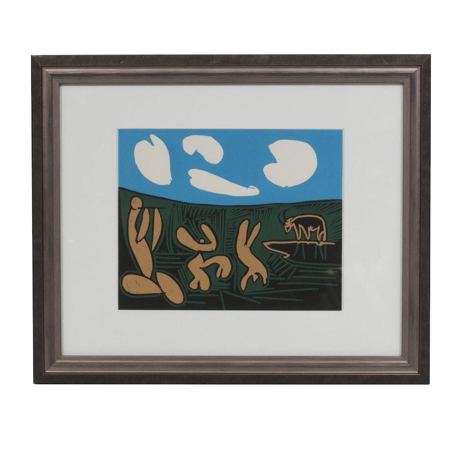 """Pablo Picasso Linoleum Cut """"Bacchanal with Four Clouds"""""""