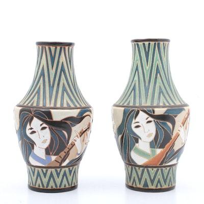 Japanese Deco Style Hand Glazed Vases