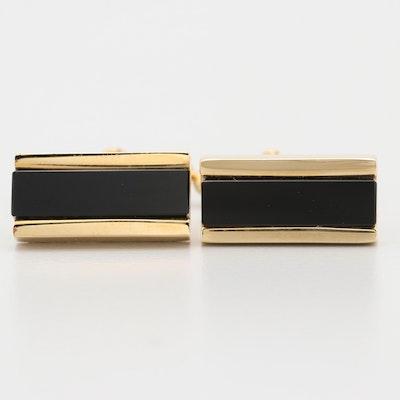 Christian Dior Gold Toned Black Onyx Cufflinks