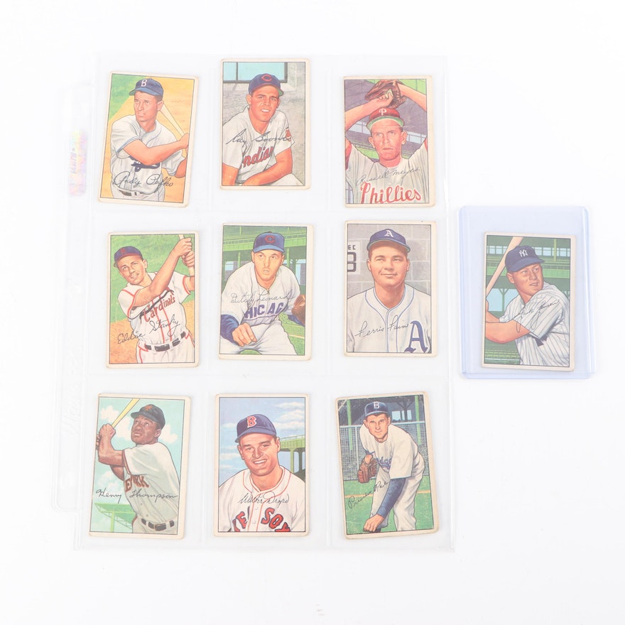 1952 Bowman Baseball Cards Including Preacher Roe And Jackie Jensen