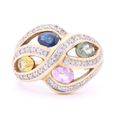 14K Yellow Gold Diamond and Multi-Colored Sapphire Ring