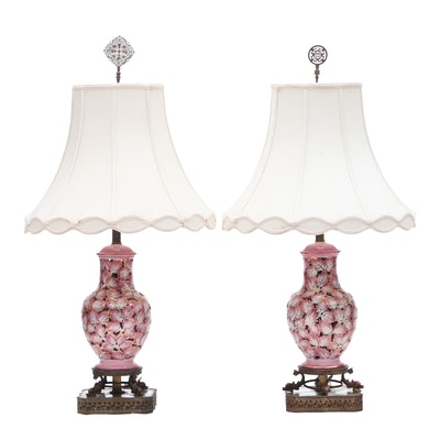 Asian Inspired Parcel-Gilt Porcelain Table Lamps