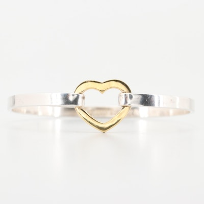 Tiffany & Co. Gold Wash Heart and Sterling Silver Hinged Bangle Bracelet