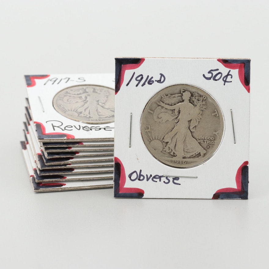 Ten Walking Liberty Silver Half Dollars