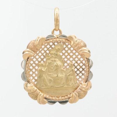 18K Yellow, White, and Rose Gold Religious Pendant