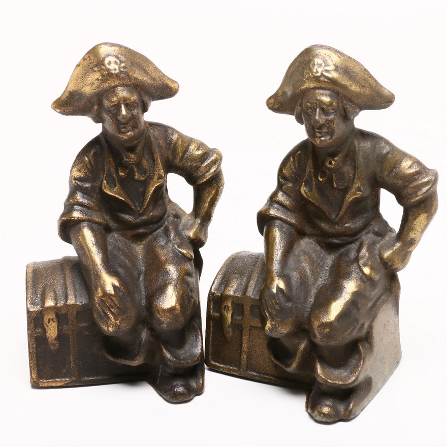 Cast Bronze Pirate and Treasure Chest Bookends, Early to Mid 20th Century