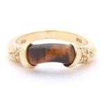 18K Yellow Gold Diamond and Tiger's Eye Ring