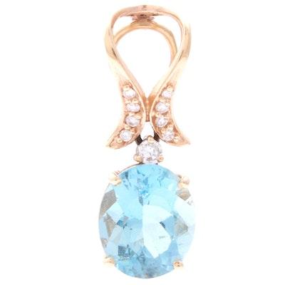 14K Yellow Gold Aquamarine and Diamond Pendant