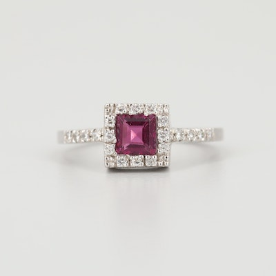 14K White Gold Rhodolite Garnet and Diamond Ring
