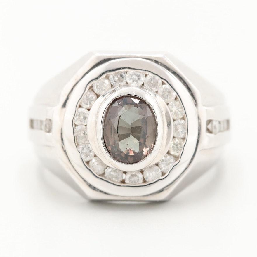 14K White Gold Color Change Garnet and Diamond Ring