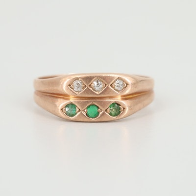 10K Rose Gold Diamond and Garnet Glass Doublet Ring