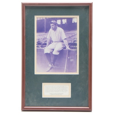 """Babe Ruth Yankees """"The House That Ruth Built"""" Matted and Framed Baseball Display"""