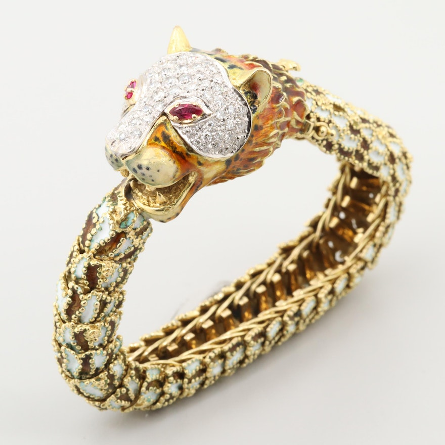 18K Yellow Gold 1.32 CTW Diamond and Enamel Tiger's Head Bracelet with Ruby Eyes