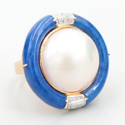 14K Yellow Gold Cultured Pearl, Diamond and Lapis Lazuli Ring
