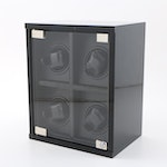 """Contemporary Quadruple Watch Winder with High Gloss """"Carbon Fiber"""" Finish"""