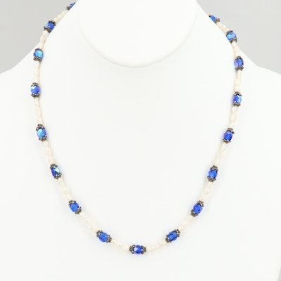 Sterling Silver Cultured Pearl and Faceted Glass Necklace