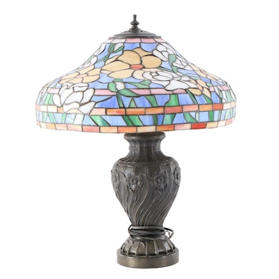 Cast Metal Floral Table Lamp with Leaded and Stained Glass Shade